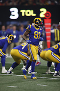 Los Angeles Rams tight end Gerald Everett (81) in action during the NFL Super Bowl 53 football game against the New England Patriots on Sunday, Feb. 3, 2019, in Atlanta. The Patriots defeated the Rams 13-3. (©Paul Anthony Spinelli)