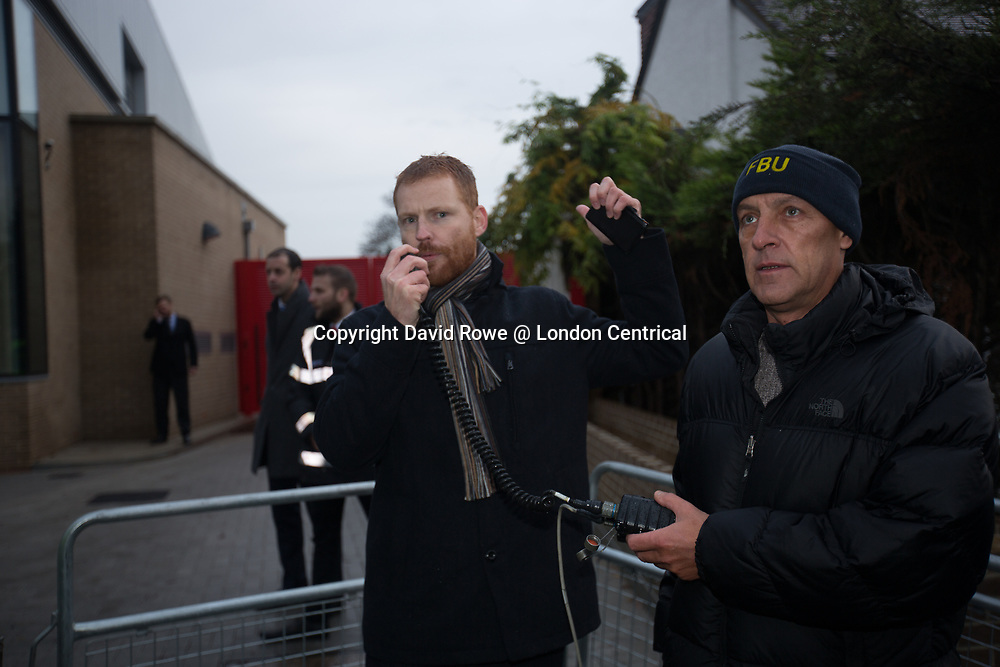 Paul Emery, the Regional Secretary of the Fire Brigades Union, addresses the crowd after the arrival of Tory MP Penny Mourdant at West Norwood Fire Station re-opening. The Fire Brigade Union protest at the newly opened fire station was to protest against proposed pension changes.