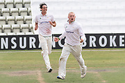 WICKET - Callum Parkinson celebrates the wicket of George Balderson before the Bob Willis Trophy match between Lancashire County Cricket Club and Leicestershire County Cricket Club at Blackfinch New Road, Worcester, United Kingdom on 4 August 2020.