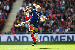 Gemma Davison of Chelsea Ladies and Emma Mitchell of Arsenal Ladies jump for the ball - Mandatory byline: Jason Brown/JMP - 14/05/2016 - FOOTBALL - Wembley Stadium - London, England - Arsenal Ladies v Chelsea Ladies - SSE Women's FA Cup