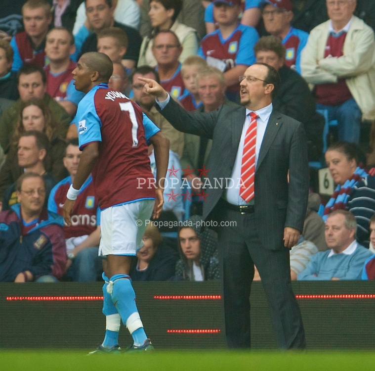 BIRMINGHAM, ENGLAND - Sunday, August 31, 2008: Liverpool's manager Rafael Benitez and Aston Villa's Ashley Young during the Premiership match at Villa Park. (Photo by David Rawcliffe/Propaganda)