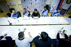 Stane Ostrelic, Miro Pozun, Leopold Kalin, David Spiler and David Korazija at press conference of Handball Men National Team of Slovenia before match with Bolgaria,  on November 24, 2008 in RZS, Ljubljana, Slovenia.  (Photo by Vid Ponikvar / Sportida)