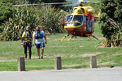 A man has been rescued by the Westpac helicopter crew from Wellington Harbour off the foreshore by Horokiwi and landed near the Petone Water Ski Club, the Wellington, New Zealand, Wednesday, January 24, 2018. Credit:SNPA / Derek Quinn  **NO ARCHIVING**