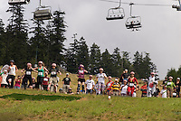 In August the annual cheese rolling contest brings athletic contestants to Whistler, BC, Canada. The first to catch the rolling cheese as it heads down Blackcomb Mountain wins a seasons' ski pass.