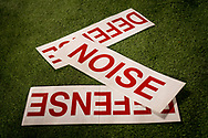 Rutgers cheer signs lay on the sidelines during Nebraska's 31-14 win against Rutgers at High Point Solutions Stadium, on Nov. 14, 2015. Photo by Aaron Babcock, Hail Varsity