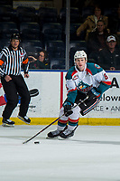 KELOWNA, BC - MARCH 03:  Kaedan Korczak #6 of the Kelowna Rockets skates with the puck against the Portland Winterhawks at Prospera Place on March 3, 2019 in Kelowna, Canada. (Photo by Marissa Baecker/Getty Images)