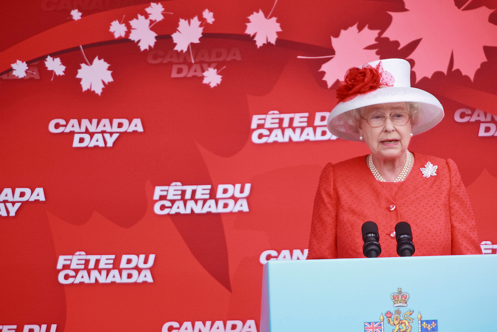Queen Elizabeth II speaks during Canada Day celebrations on Parliament Hill  in Ottawa, Ontario, July 1, 2010. The Queen is on a 9 day visit to Canada. <br /> AFP/GEOFF ROBINS/STR