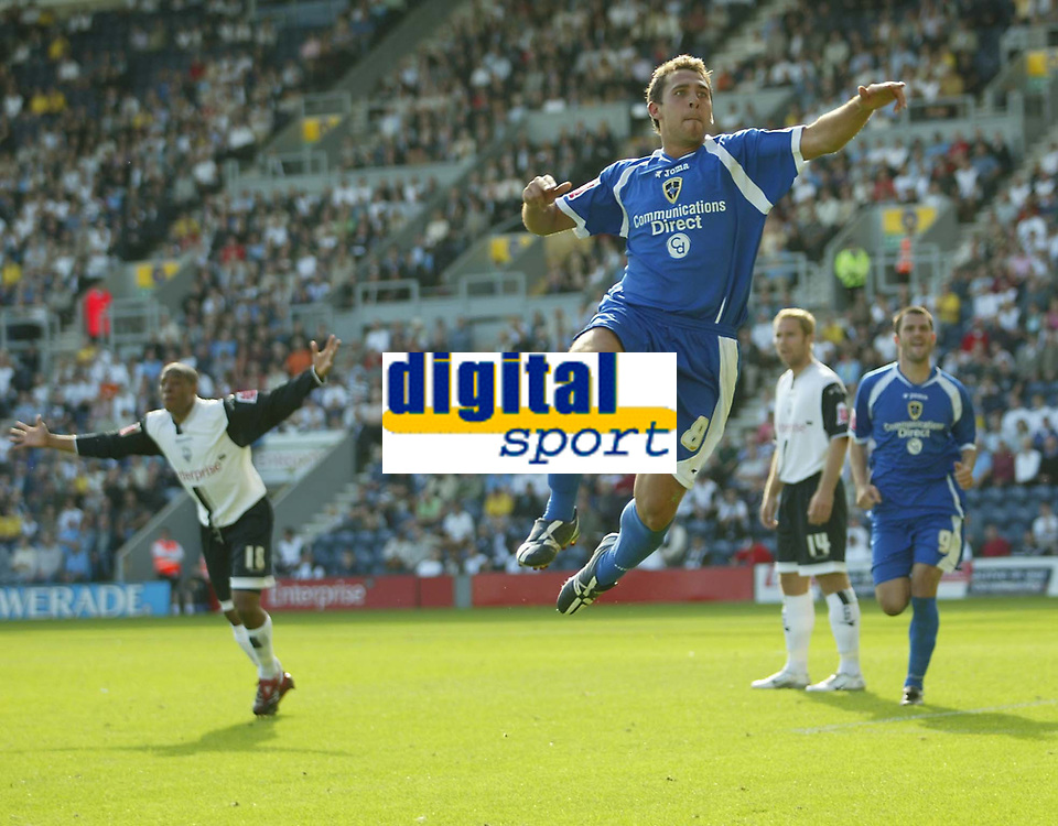 Photo: Aidan Ellis.<br /> Preston North End v Cardiff City. Coca Cola Championship. 09/09/2006.<br /> Cardiff's Michael Chopra celebrates his equaliser
