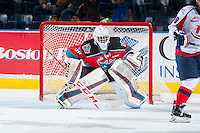 KELOWNA, CANADA - OCTOBER 31: Michael Herringer #30 of Kelowna Rockets defends the net against the Lethbridge Hurricanes on October 31, 2015 at Prospera Place in Kelowna, British Columbia, Canada.  (Photo by Marissa Baecker/Shoot the Breeze)  *** Local Caption *** Michael Herringer;