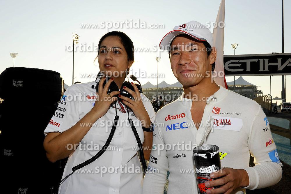 13.11.2011, Yas-Marina-Circuit, Abu Dhabi, UAE, Grosser Preis von Abu Dhabi, im Bild Monisha Kaltenborn (AUT), Sauber F1 Team, Managing Director - Kamui Kobayashi (JPN), Sauber F1 Team  // during the Formula One Championships 2011 Large price of Abu Dhabi held at the Yas-Marina-Circuit, 2011/11/13. EXPA Pictures © 2011, PhotoCredit: EXPA/ nph/ Dieter Mathis..***** ATTENTION - OUT OF GER, CRO *****
