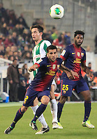 Barcelona's Lionel Messi during the 1st leg of a last-16 Copa del Rey soccer match against Cordoba at Arcangel stadium in Cordoba, Spain on Wednesday, Dec. 12, 2012.