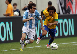 JUNE 09 2012:   Lionel Messi (10) of Argentina breaks away from Marcelo (6) of Brazil during an international friendly match at Metlife Stadium in East Rutherford,New Jersey. Argentina won 4-3.