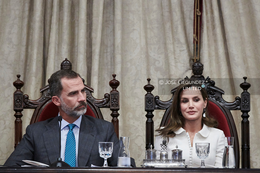 King Felipe VI of Spain, Queen Letizia of Spain Attend the Opening of the scholar College year at Salamanca University on September 14, 2017 in Salamanca, Spain