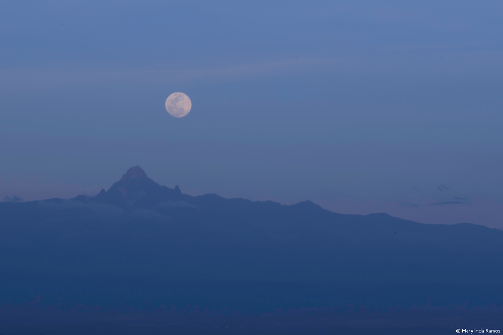 Moon rising over Mount Kenya.