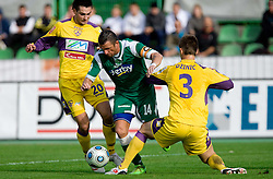 Sebastjan Cimirotic of Olimpija between Miral Samardzic and Elvedin Dzinic of Maribor at 13th Round of Prva Liga football match between NK Olimpija and Maribor, on October 17, 2009, in ZAK Stadium, Ljubljana. Maribor won 1:0. (Photo by Vid Ponikvar / Sportida)