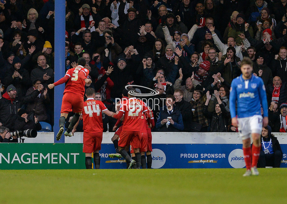 Leyton Orient Midfielder Jobi McAnuff opens the scoring during the Sky Bet League 2 match between Portsmouth and Leyton Orient at Fratton Park, Portsmouth, England on 6 February 2016. Photo by Adam Rivers.