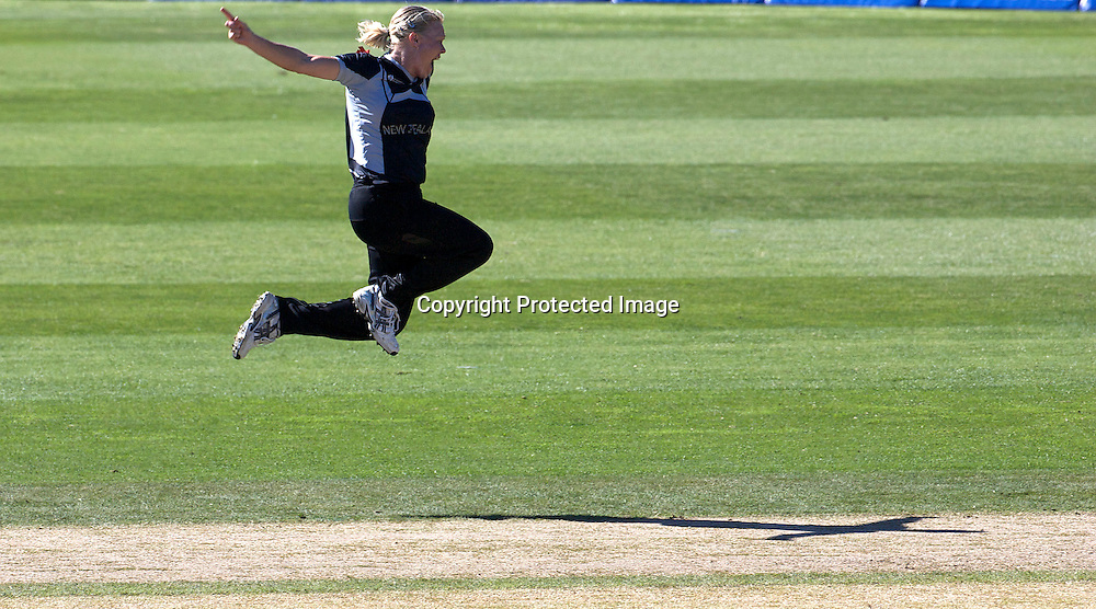 Sydney-March 17: Kate Pulford gets the wicket of Anagha Deshpande caught behind during the match between New Zealand and India in the Super 6 stage of the ICC Women's World Cup Cricket tournament at North Sydney  Oval, Sydney, Australia on March 17, 2009. Photo by Tim Clayton.