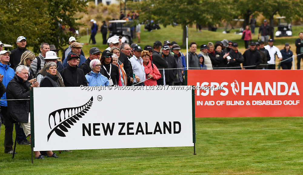 Signage on day 4 at the 2017 ISPS Handa New Zealand Golf Open. Millbrook, Arrowtown. New Zealand. Sunday 12 March 2017. © Photo: Andrew Cornaga / www.photosport.nz