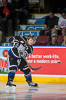 KELOWNA, CANADA - APRIL 12: Joe Hicketts #2 of Victoria Royals passes the puck against the Kelowna Rockets on April 12, 2016 at Prospera Place in Kelowna, British Columbia, Canada.  (Photo by Marissa Baecker/Shoot the Breeze)  *** Local Caption *** Joe Hicketts;