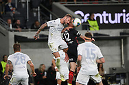 SYDNEY, AUSTRALIA - JULY 20: Leeds United defender Liam Cooper (6) and Western Sydney Wanderers player Mitchell Duke (12) go up for the ball during the club friendly football match between Leeds United and Western Sydney Wanderers FC on July 20, 2019 at Bankwest Stadium in Sydney, Australia. (Photo by Speed Media/Icon Sportswire)