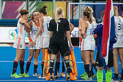The Netherlands wait to receive their silver medals. England v The Netherlands - Final Unibet EuroHockey Championships, Lee Valley Hockey & Tennis Centre, London, UK on 30 August 2015. Photo: Simon Parker