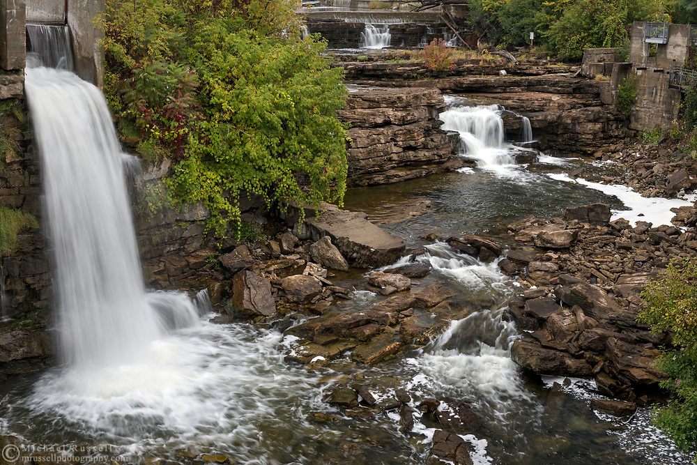 Grand Falls along the Mississippi River in Almonte, Ontario, Canada.  Photographed from the Almonte Street Bridge next to the old Almonte Electric Plant (1925) building which is currently home to the Mississippi River Power Corporation.
