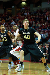 18 February 2012: Ryan Bass, John Wilkins and Kyle Sikora during an ESPN Bracketbuster mens basketball game Where the Oakland Golden Grizzlies lost to the Illinois State Redbirds 79-75 in Redbird Arena, Normal IL