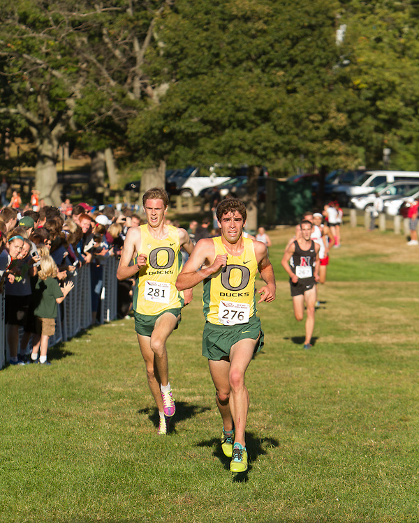 Boston College Invitational Cross Country race at Franklin Park; Dan Winn and Jeremy Elkaim, Oregon
