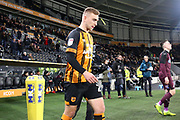 Hull City forward Jarrod Bowen (20) takes to the filed of play the EFL Sky Bet Championship match between Hull City and Swansea City at the KCOM Stadium, Kingston upon Hull, England on 22 December 2018.