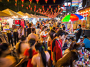 06 FEBRUARY 2014 - HAT YAI, SONGKHLA, THAILAND: One of the main streets in Hat Yai lit up and decorated for Lunar New Year. Hat Yai was originally settled by Chinese immigrants and still has a large ethnic Chinese population. Chinese holidays, especially Lunar New Year (Tet) and the Vegetarian Festival are important citywide holidays.     PHOTO BY JACK KURTZ