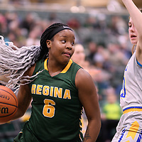 2nd year guard Kyia Giles (6) of the Regina Cougars during the Women's Basketball home game on November 25 at Centre for Kinesiology, Health and Sport. Credit: Casey Marshall/Arthur Images