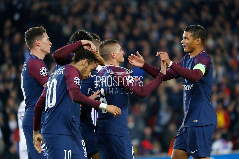 MARCO VERRATTI (PSG) scored a goal and celebrated it with Thiago Silva (PSG), Neymar da Silva Santos Junior - Neymar Jr (PSG), Kylian Mbappe (PSG), Edinson Roberto Paulo Cavani Gomez (psg) (El Matador) (El Botija) (Florestan), Julian Draxler (PSG), Marcos Aoas Correa dit Marquinhos (PSG) during the UEFA Champions League, Group B, football match between Paris Saint-Germain and RSC Anderlecht on October 31, 2017 at Parc des Princes stadium in Paris, France - Photo Stephane Allaman / ProSportsImages / DPPI