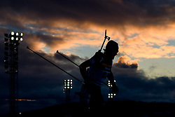 March 9, 2019 - –Stersund, Sweden - 190309 An athlete in silhouette competes in the Men's 10 KM sprint during the IBU World Championships Biathlon on March 9, 2019 in Östersund..Photo: Petter Arvidson / BILDBYRÃ…N / kod PA / 92252 (Credit Image: © Petter Arvidson/Bildbyran via ZUMA Press)
