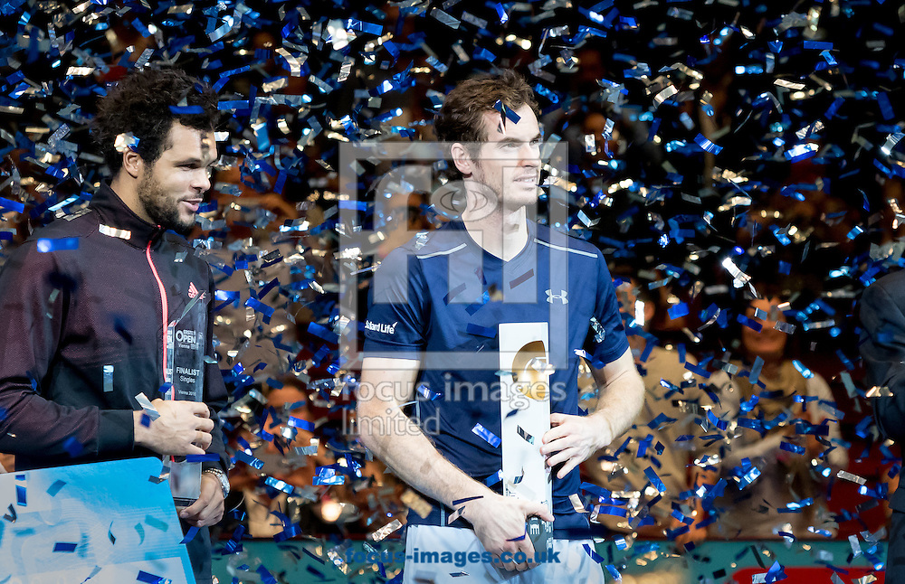 Andy Murray with the trophy during the final of the Erste Bank Open at Wiener Stadthalle, Vienna, Austria.<br /> Picture by EXPA Pictures/Focus Images Ltd 07814482222<br /> 30/10/2016<br /> *** UK &amp; IRELAND ONLY ***<br /> EXPA-PUC-161030-0441.jpg