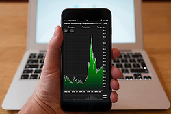 Using iPhone smartphone to display stock market performance chart for Shanghai Stock Exchange Composite Index,