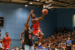 Jalan McCloud of Bristol Flyers attempts a layup - Photo mandatory by-line: Arron Gent/JMP - 28/04/2019 - BASKETBALL - Surrey Sports Park - Guildford, England - Surrey Scorchers v Bristol Flyers - British Basketball League Championship