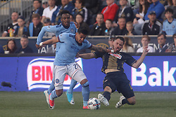 April 14, 2017 - Chester, PA, United States of America - New York City FC Defender RONALD MATARRITA (22) and Philadelphia Union Defender KEEGAN ROSENBERRY (12) battle for the ball  in the first half of a Major League Soccer match between the Philadelphia Union and New York City FC Friday, Apr. 17, 2016 at Talen Energy Stadium in Chester, PA. (Credit Image: © Saquan Stimpson via ZUMA Wire)