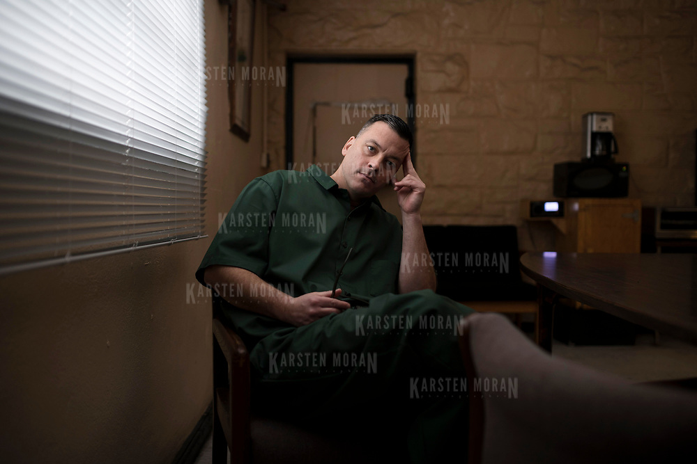 January 19, 2018 - New York, NY :  John J. Lennon, a journalist and inmate at Sing Sing Correctional Facility in Ossining, New York, poses for a portrait in a room at the facility on Friday morning, January 19. Lennon, who is serving a sentence of twenty-eight years to life, has been published in a number of major media outlets including The Atlantic, The New York Times, the Pacific Standard, and The Chronicle for Higher Education. CREDIT: Karsten Moran for The Marshall Project