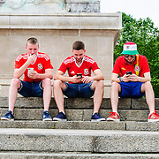 Wales fans gather in Bordeaux, ahead of their country's historic debut in the tournament. Images from  UEFA EURO 2016, 11 June 2016. Photo: Paul J Roberts | RobertsSports Photo. All Rights Reserved