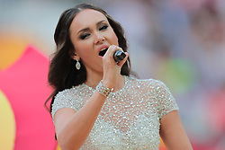 June 14, 2018 - Moscow, Russia - Aida Garifullina performs during Opening Ceremony of FIFA World Cup 2018 before the group A match between Russia and Saudi Arabia at the 2018 soccer World Cup at Luzhniki stadium in Moscow, Russia, Tuesday, June 14, 2018. (Credit Image: © Anatolij Medved/NurPhoto via ZUMA Press)