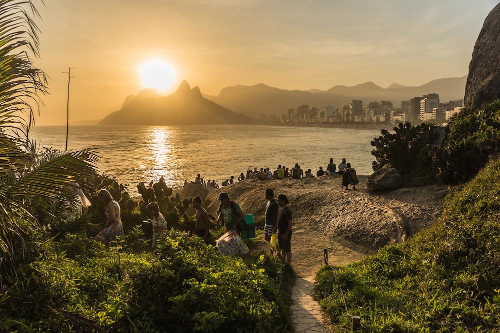 Ipanema beach at sunset from Arpoar viewpoint, Rio de Janeiro, Brazil.