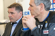 Sporting director Axel Thoma (back) and head coach Pierluigi Tami are pictured during a press conference of Super League (National League A) soccer team Grasshopper Club Zuerich (GCZ) held at the GC Campus in Niederhalsi, Switzerland, Friday, Feb. 6, 2015. (Photo by Patrick B. Kraemer / MAGICPBK)
