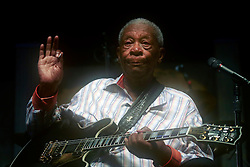 28 April 2013. New Orleans, Louisiana,  USA. <br /> B.B. King, legendary musician plays the Blues Tent at the New Orleans Jazz and Heritage Festival. <br /> Photo; Charlie Varley