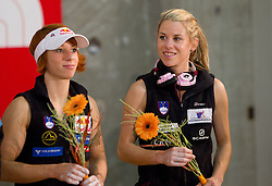 Natalija Gros and Maja Vidmar of Slovenia at flower ceremony during Final IFSC World Cup Competition in sport climbing Kranj 2010, on November 14, 2010 in Arena Zlato polje, Kranj, Slovenia. (Photo By Vid Ponikvar / Sportida.com)