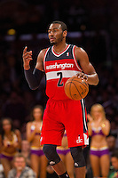 22 March 2013: Guard (2) John Wall of the Washington Wizards dribbles the ball up the court against the Los Angeles Lakers during the second half of the Wizards 103-100 victory over the Lakers at the STAPLES Center in Los Angeles, CA.