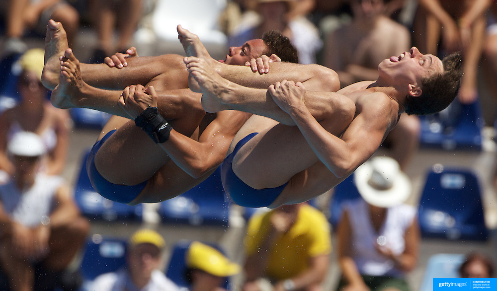 Max Brick (foreground) and Thomas Daley of Great Britain competing in the Men's 10m Synchro Platform diving final where they finished ninth at the World Swimming Championships in Rome on Saturday, July 25, 2009. Photo Tim Clayton.