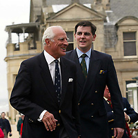 Patrick Birkbeck, House of Bruar MD (right) with Graeme Simmers, Captain of the R&A at the Golf St Andrews shop, a joint venture between the House of Bruar and the R&A<br />