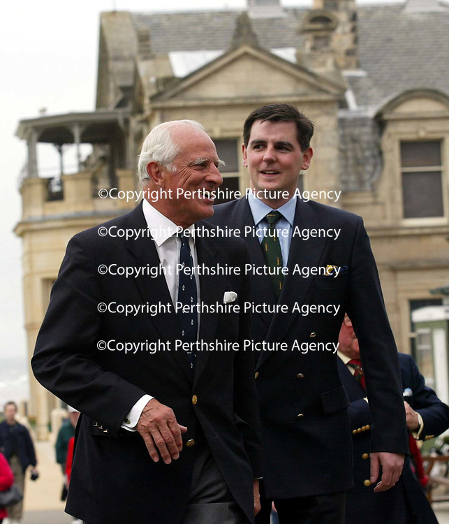 Patrick Birkbeck, House of Bruar MD (right) with Graeme Simmers, Captain of the R&amp;A at the Golf St Andrews shop, a joint venture between the House of Bruar and the R&amp;A<br /><br />Picture by Graeme Hart.<br />Copyright Perthshire Picture Agency<br />Tel: 01738 623350  Mobile: 07990 594431
