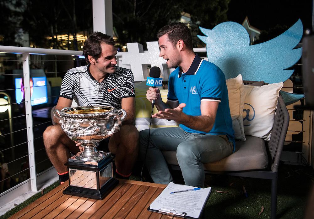 Roger Federer of Switzerland in the Twitter Blue Room after the men's final on day fourteen of the 2017 Australian Open at Melbourne Park on January 29, 2017 in Melbourne, Australia.<br /> (Ben Solomon/Tennis Australia)