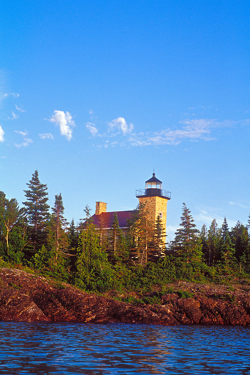 The Copper Harbor Lighthouse in Copper Harbor Michigan on Lake Superior in the Keweenaw Peninsla.